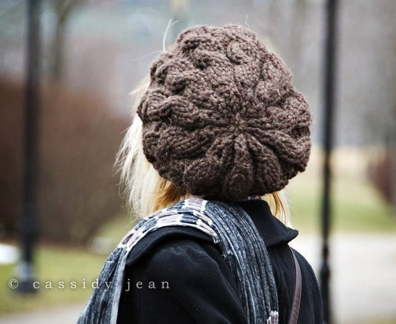 Knit Hat Womens Hat - Brown Cable Beret Hat Wood Brown Knit Hat - Brown Beret Brown Hat Brown Beanie Womens Accessories