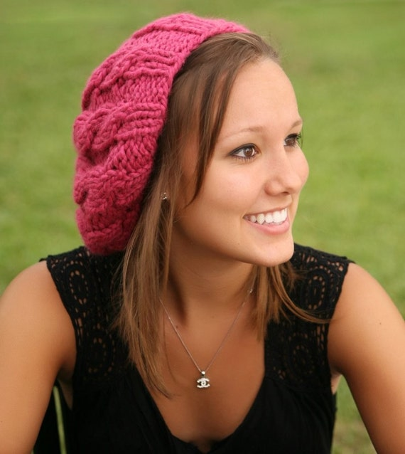 Pink Womens Hat Raspberry Beret - Pink Cable Beret Hat in Raspberry Pink Knit Hat - Pink Hat Pink Beret Pink Beanie Womens Accessories