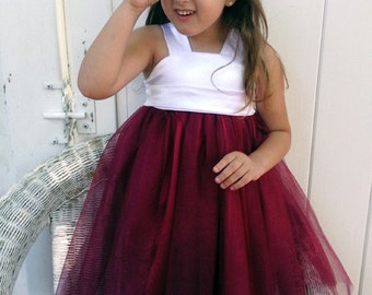 Burgundy Tutu Dress with Ivory by Olivia Kate Couture