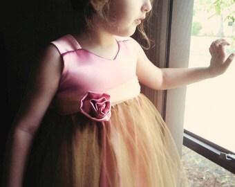 Vintage Rose . Flower Girl Dress