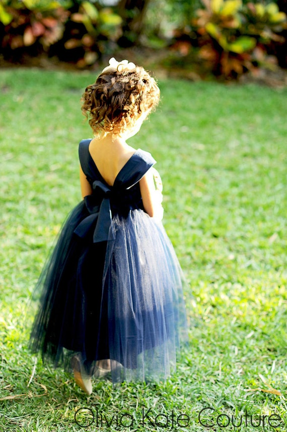 Flower Girl Dress Natural Navy
