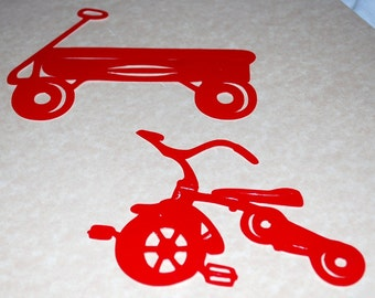 Old Fashioned Toy Decals Red Wagon and Tricycle Wall Decor Crafts Hobbies