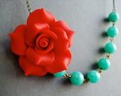 Statement Necklace,Red Flower Necklace,Red Necklace,Floral Necklace,Aqua Necklace,Bridesmaid Necklace,Wedding Necklace,Valentine Gift