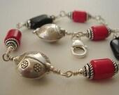Black Onyx Bracelet, Sterling Silver Bracelet, Red Coral Bracelet, Artisan jewelry