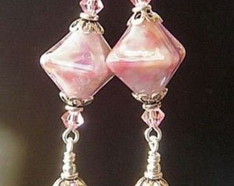 Pink Lampwork Earrings, Swarovski Elements Crystal Earrings, Pink Earrings, Crystal Earrings
