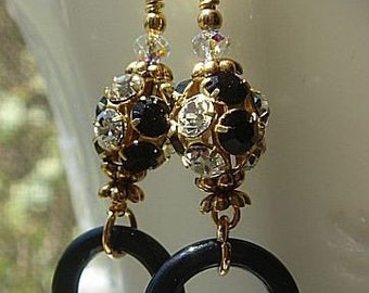 Rhinestone Earrings, Black Onyx Earrings, Vintage Bead Earrings, Artisan Jewelry
