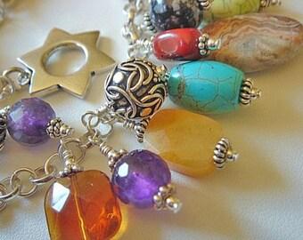 Turquoise Charm Bracelet, Sterling Silver Bracelet, Turquoise Jasper Onyx and Every Other Stone I Had Bracelet