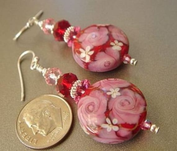 Pink Lampwork Dangle Earrings with Sterling Silver, Swarovski Crystals and Stunning Lampwork beads