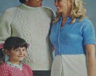 Knitting Patterns Crochet Family Beehive Patons 147 Sweater Cardigan Bolero Vest Poncho Pillow Mittens Hat Shrug Paper Original NOT a PDF
