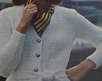 Cardigan Knitting Patterns Bernat 206 Women Sweater Vintage Paper Original NOT a PDF