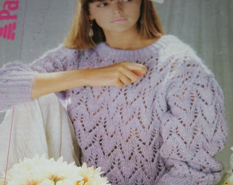 Sweater Knitting Pattern Lace Beehive Patons B 8202 Fast Chunky Weight Yarn Sizes 30 - 38 Women Vintage Paper Original NOT a PDF