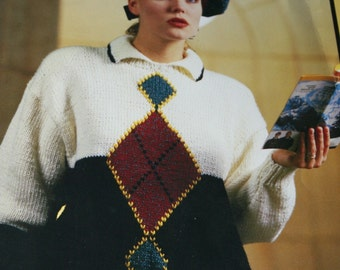 Sweater Knitting Patterns Women Men Chunky Getaways Bouquet 1209 Chunky Weight Yarn Argyle Hat Tam Paper Original NOT a PDF