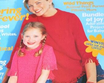 Sweater Knitting Patterns Crochet Patterns Family Circle Easy Knitting plus Crochet Magazine Spring Summer 2001 Paper Original NOT a PDF