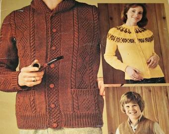 Sweater Knitting Patterns Beehive Patons 401 Men Women Children Cardigan Vest Vintage Paper Original NOT a PDF