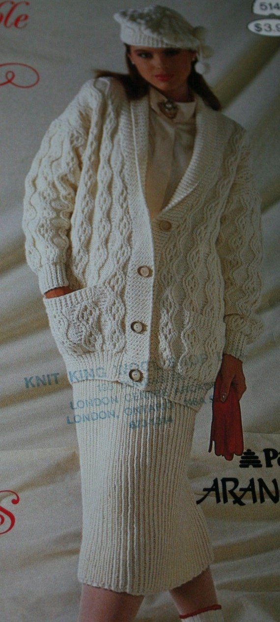Aran Vest Knitting Pattern : Aran Knitting Patterns Sweaters Patons Irresistible Arans 514