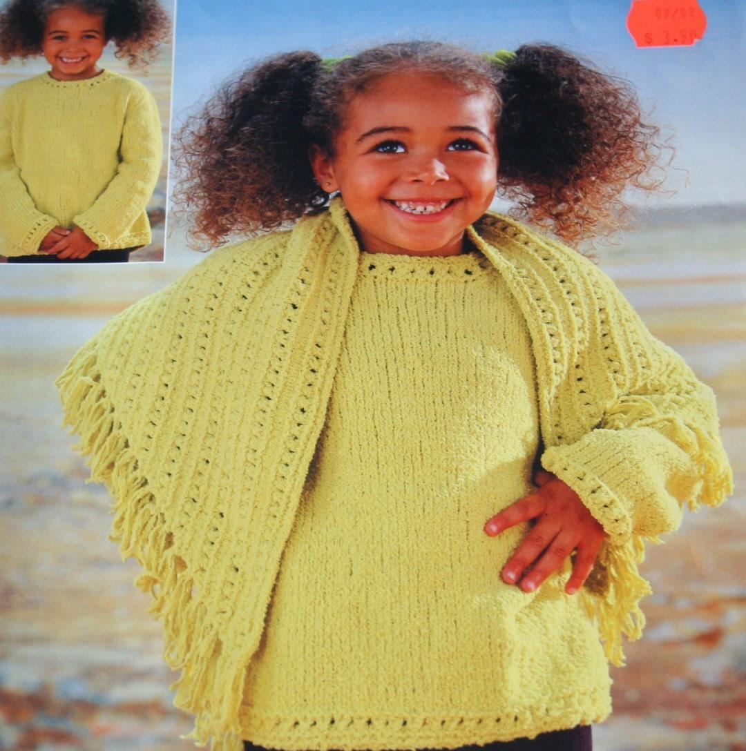 Knitting Pattern Girl Sweater : Knitting Pattern Sweater Shawl Girl Peter Pan P931 Children