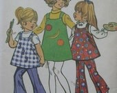 Simplicity 9586, early 1970s girls' jumper, tunic, and bell-bottoms