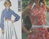 Simplicity 5619, 1970s shirtwaist dress with flared skirt