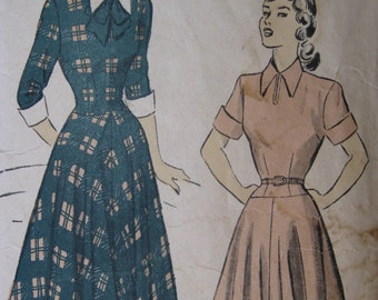 Advance 4967, late 1940s dress with dropped waist and full skirt