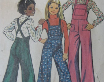 Simplicity 6125, 1970s girls' bell bottom overalls