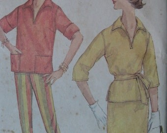 Simplicity 3545, early 1960s top, straight skirt, and slim pants