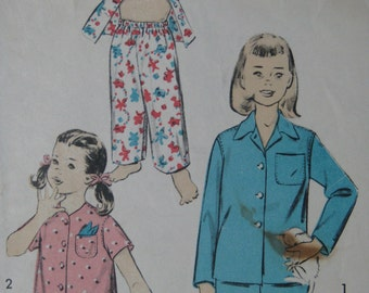 Advance 7874, 1950s girls' pajamas