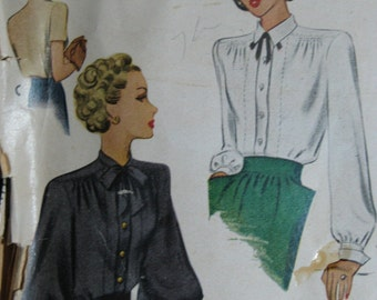 McCall 6748, 1940s button front blouses