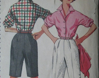 Simplicity 4746, 1950s blouse and shorts