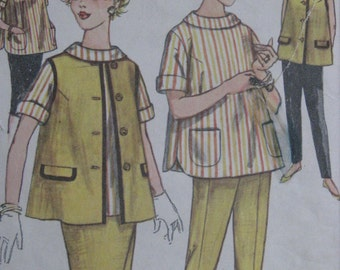Simplicity 3309, early 1960s maternity skirt, jacket, blouse, and pants