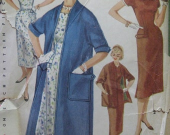 Simplicity 1458, 1950s sheath dress and coat