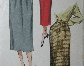 Simplicity 3495, early 1950s slim skirts