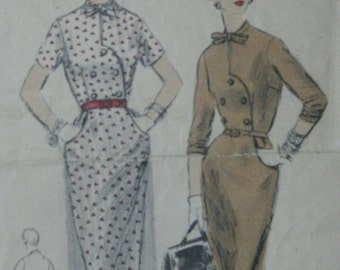 Vogue 8297, 1950s dress with shaped front edge