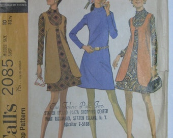 Vintage pattern, late 1960s mod dress with long vest, McCall's  2085