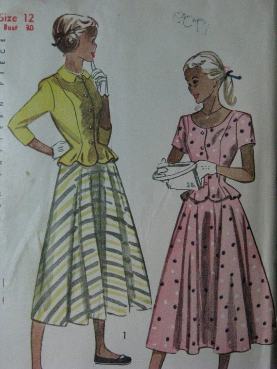Simplicity 2411, late 1940s two piece dress