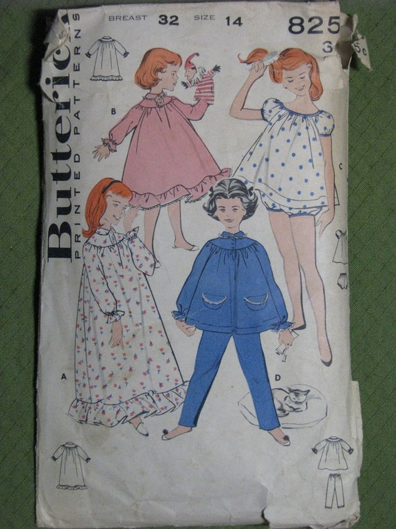 Butterick 8251, 1960s girls' nightgown and pajamas
