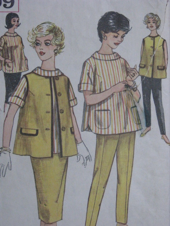 Simplicity 3309 early 1960s maternity skirt jacket blouse