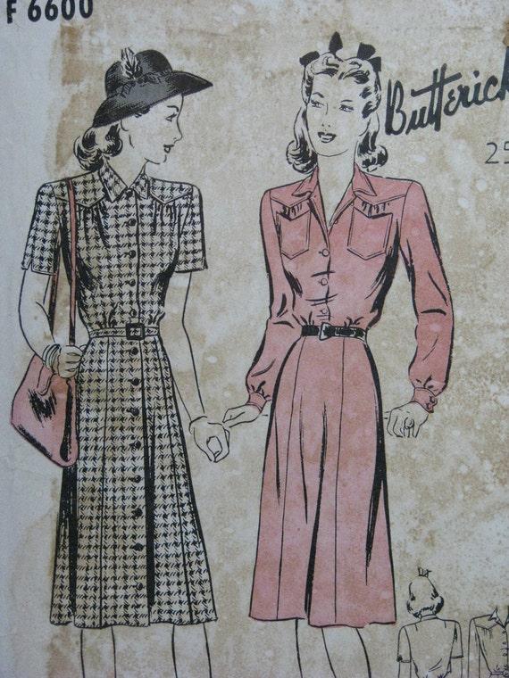 1940s dress with shaped yoke, Butterick F 6600, vintage pattern