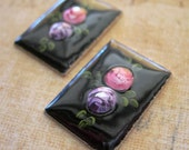 ROSES Guilloche Cabochons Metal Enamel Vintage Pink and Purple on Black lot of 2 WESTERN GERMANY