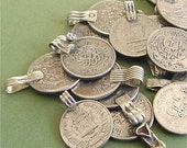 """Vintage Silver Coin Charms Afghan Kuchi Pendants mixed lot of 5 ETHNIC ELEMENTS Kulchi Belly Dance 1-1/4"""" to 1"""""""