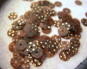 Vintage Sequins Brown with Gold Dots WALNUT Couture 5mm lot of 200