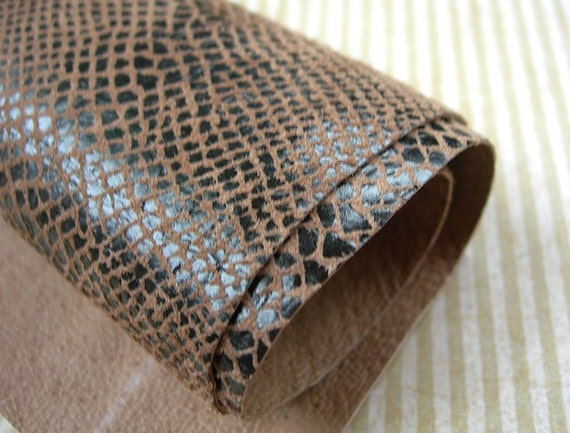 Leather Scraps Brown Faux Snakeskin Garment Quality 2 pcs 7x8
