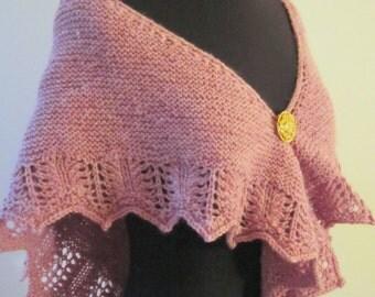 Pink Heather  Scarf, Lace, woolblend
