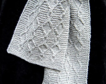 Gray Twist Scarf - Wool - handknit, neutral gray, machine wash, fath ers' day.