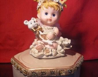 Angel/Fairy Girl Figurine Trinket Box OOAK