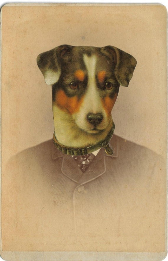 Anthropomorphic Dog Art, Altered Photo, Victorian Portrait, Photo Collage Art, Antique Photograph, Sepia Photo, Cabinet Card