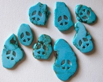 1 Med. Turquoise Peace Symbol Turquoise Blue Focal Pendant Freeform