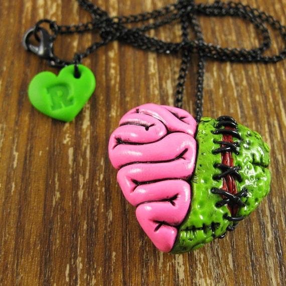 Zombie Locket Heart Brain Halloween Necklace
