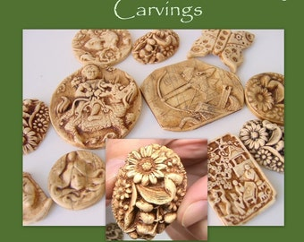 Imitative Bone and Ivory Carving - no Carving tools required - Polymer Clay Tutorial - Digital PDF file download
