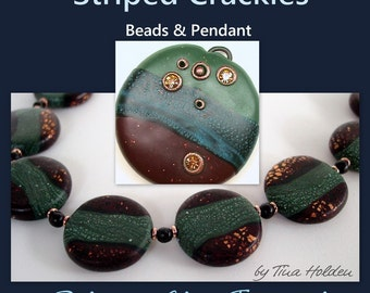 Striped Crackle Beads and Pendants - Polymer clay Tutorial - Digital PDF Download