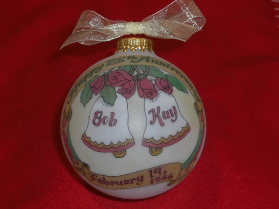 25th Anniversary Custom Personalized Ornament, Original Hand painted Ornament, WITH DISPLAY STAND